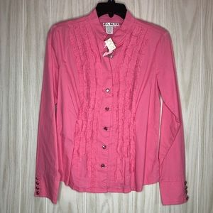 AMI Button Down Long Sleeve Ruffle Pink Blouse